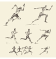 Set drawn running man healthy sketch vector image vector image