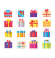 set gift box presents wrapped package icons vector image