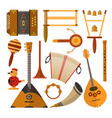 set of russian folk music instruments in vector image