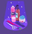 Set of styling equipment cream spray shampoo