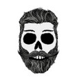 Sketch of human skull with a mustache and beard