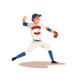 smiling baseball player throwing ball softball vector image vector image