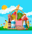 wicker picnic basket full products vector image vector image