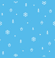 winter tree snow and snowman blue doodle seamless vector image