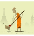 Elderly Buddhist monk sweeps the courtyard of the vector image