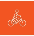 Man riding bike line icon vector image