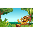 A king lion in the forest vector image vector image