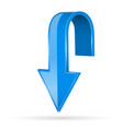 arrow down blue 3d shiny sign vector image vector image
