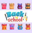 back to my school cartoon style sticker with bags vector image vector image