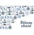 background with nautical symbols and items vector image
