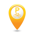 bicycle parking icon on yellow pointer vector image vector image