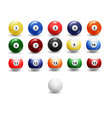 billiard balls set assorted billiard balls vector image vector image