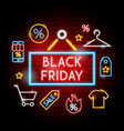 black friday neon concept vector image vector image