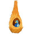 Blue bird inside the nest vector image vector image