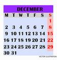 calendar design month december 2019 vector image vector image