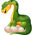 cartoon dinosaur with egg on white background vector image vector image