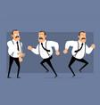 cartoon funny fat office man character set vector image vector image