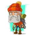 Cartoon old tired bearded climber vector image vector image