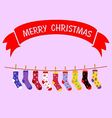 Christmas sock hanging vector image vector image