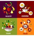 Colored fresh healty food flat design vector image