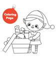 coloring page santa helper elf pack gifts vector image vector image