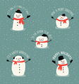 Cute snowman holiday greetings design elements vector image vector image