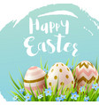 decorative easter eggs and blue flowers vector image