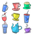 design drink set doodle hand draw vector image vector image