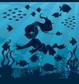diver girl undersea vector image vector image