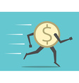 Dollar coin running vector image vector image