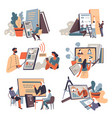education and work online classes via internet vector image