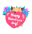 funny dog with bouquet of flowers and pink heart vector image vector image