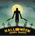 halloween zombie hunter with knife in graveyard vector image