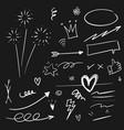 hand drawn set elements arrow heart love vector image vector image