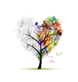 Heart shape tree pencil drawing for your design vector image vector image