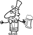 Leprechaun with beer cartoon for coloring vector image vector image