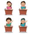 little stutends on desk cartoon vector image