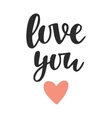 Love You hand written lettering vector image vector image