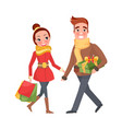 man and woman do shopping together xmas eve couple vector image