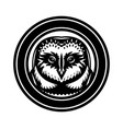 monochrome with an owl head vector image vector image