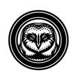 monochrome with an owl head vector image