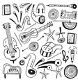 music instruments doodles vector image