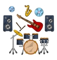 Musical band instruments sketched icons vector image vector image