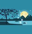 night landscape with autumn tree falling leaves vector image vector image