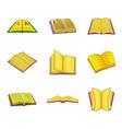 open book icon set cartoon style vector image
