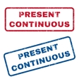 present continuous rubber stamps vector image vector image