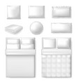 realistic bedding template white blank bed vector image