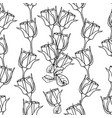 seamless pattern with liner black roses on white vector image vector image