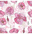 seamless pattern with pink roses endless texture vector image