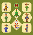 set cute kids in masquerade costumes vector image vector image
